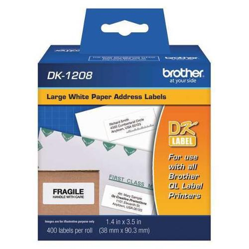 "Brother 1-3/8"" x 3-1/2"", Adhesive Address Label, Black/White, DK1208"