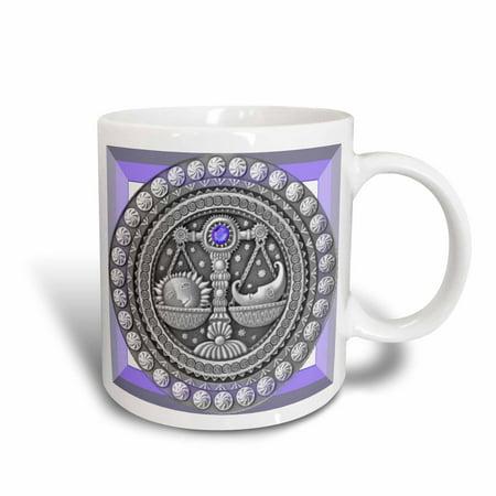 3dRose Zodiac Series Libra Metal Look Art, Ceramic Mug, 15-ounce