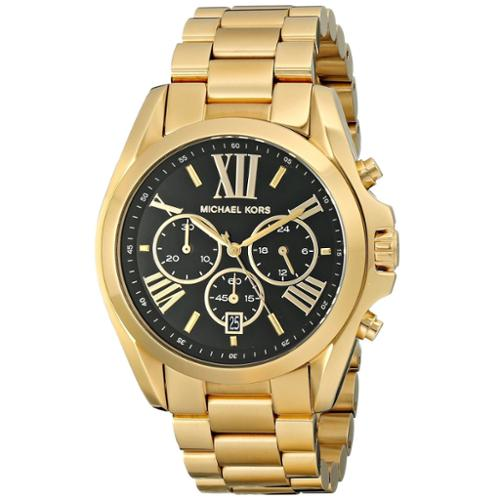 Michael Kors Women's 'Bradshaw' Goldtone Chronograph Black Dial Watch by Overstock