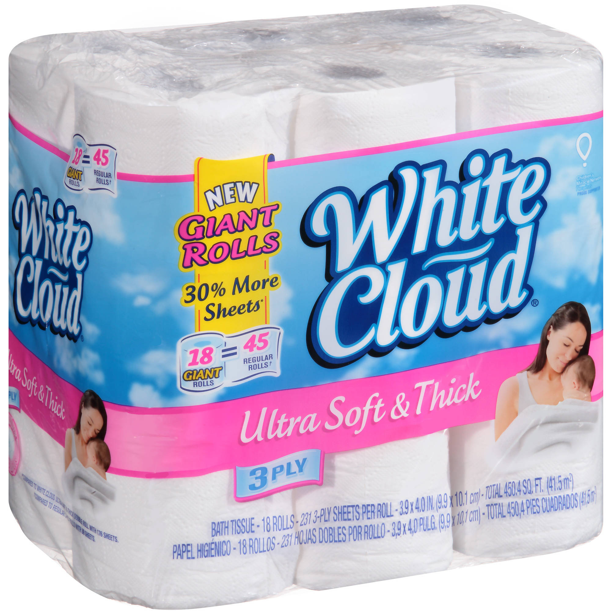 White Cloud Ultra Soft & Thick Bath Tissue Giant Rolls, 3 ply toilet ...