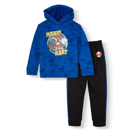 Super Mario Outfits (Nintendo Mario Kart Fleece Hoodie and Jogger, 2-piece Set (Little)