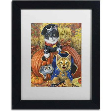 Trademark Fine Art 'Halloween Kittens' Canvas Art by Jenny Newland, White Matte, Black Frame for $<!---->