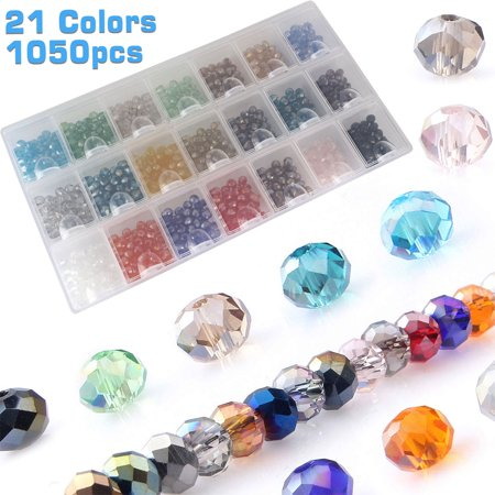 EEEKit 6mm Briolette Glass Beads for Jewelry Making, 21 Colors 1050Pcs Faceted Rondelle Shape Translucent Crystal Spacer Beads Assortments Supplies for Bracelet Necklace with Storage Box