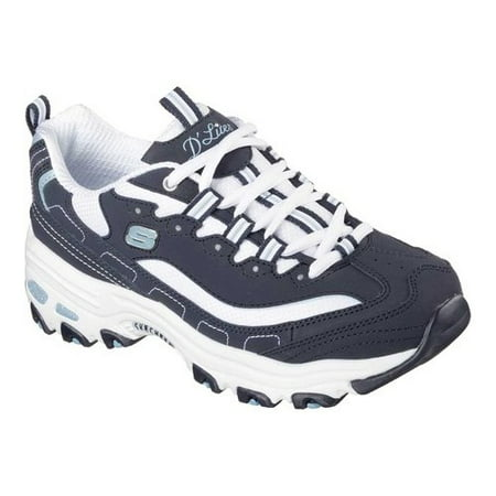 11930 Navy Dlites Shoes Women Sport Casual Comfort Memory Foam Sneaker (Skechers Womens Tennis Shoes With Memory Foam)