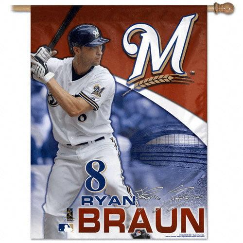 MLB - Ryan Braun Milwaukee Brewers Vertical Flag: 27x37 Banner