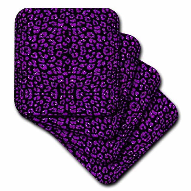 3dRose Purple and Black Printed Sparkle Leopard Print, Ceramic Tile Coasters, set of 4