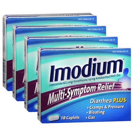 Imodium Relief Multi-Symptom pack Caplets 18 caplets de 4