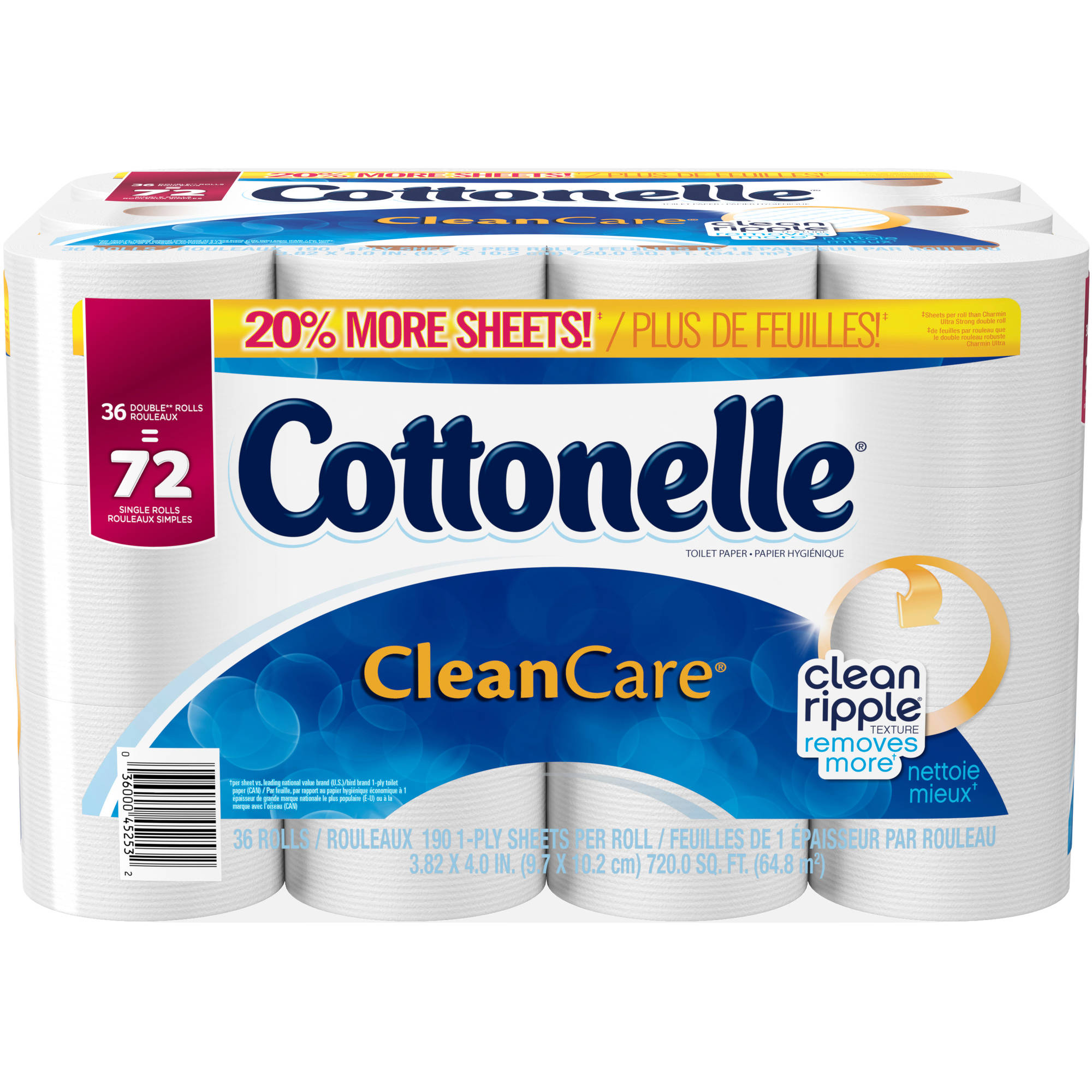 Cottonelle Clean Care Double Roll Toilet Paper, 190 sheets, 36 rolls
