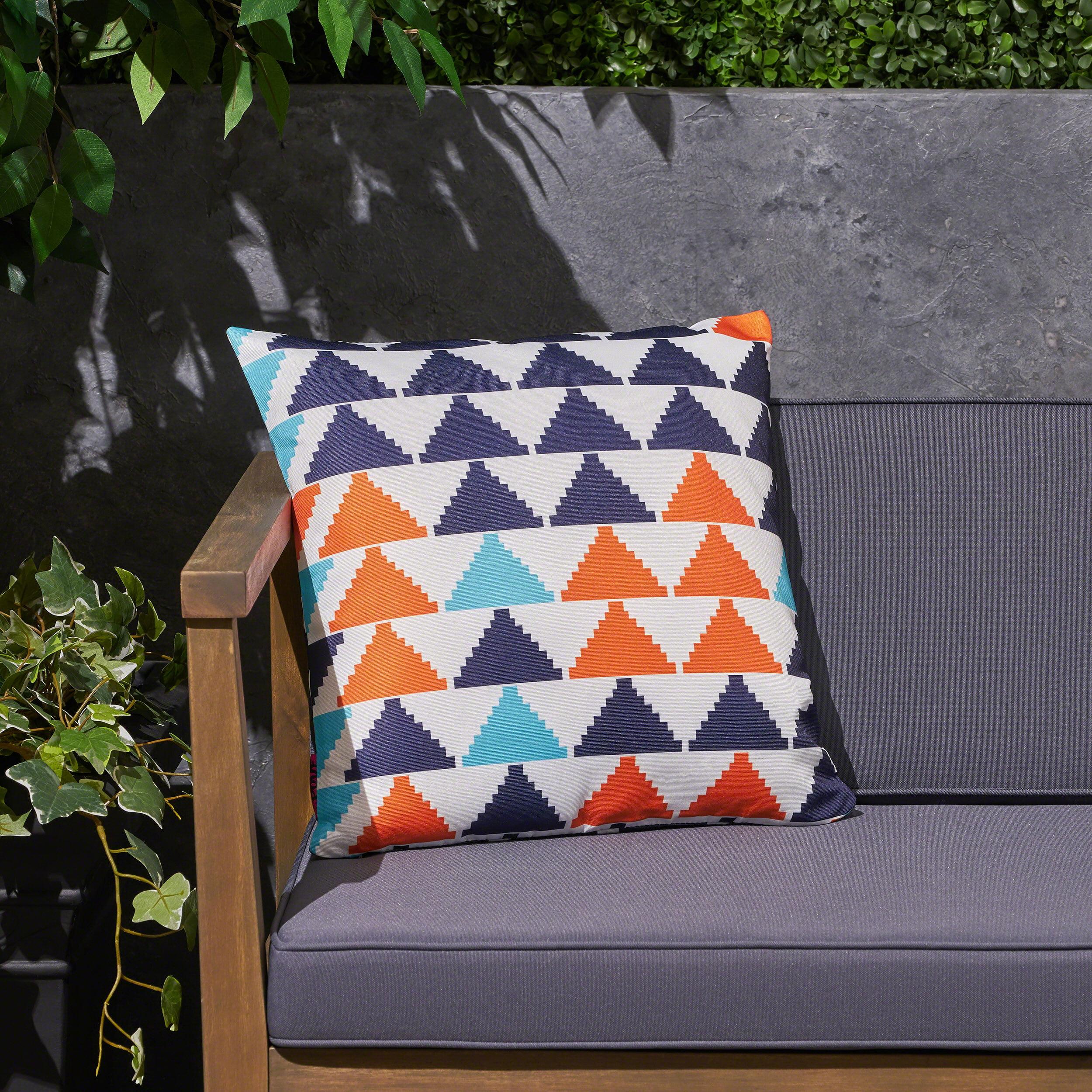 "Amelia Outdoor Boho Triangle 17.75"" Water Resistant Fabric Square Cushion, Orange, Cream, Light Blue, Dark Blue"