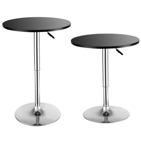 Costway Set of 2 Modern Round Bar Table Adjustable Bistro Pub Counter Wood Top Swivel