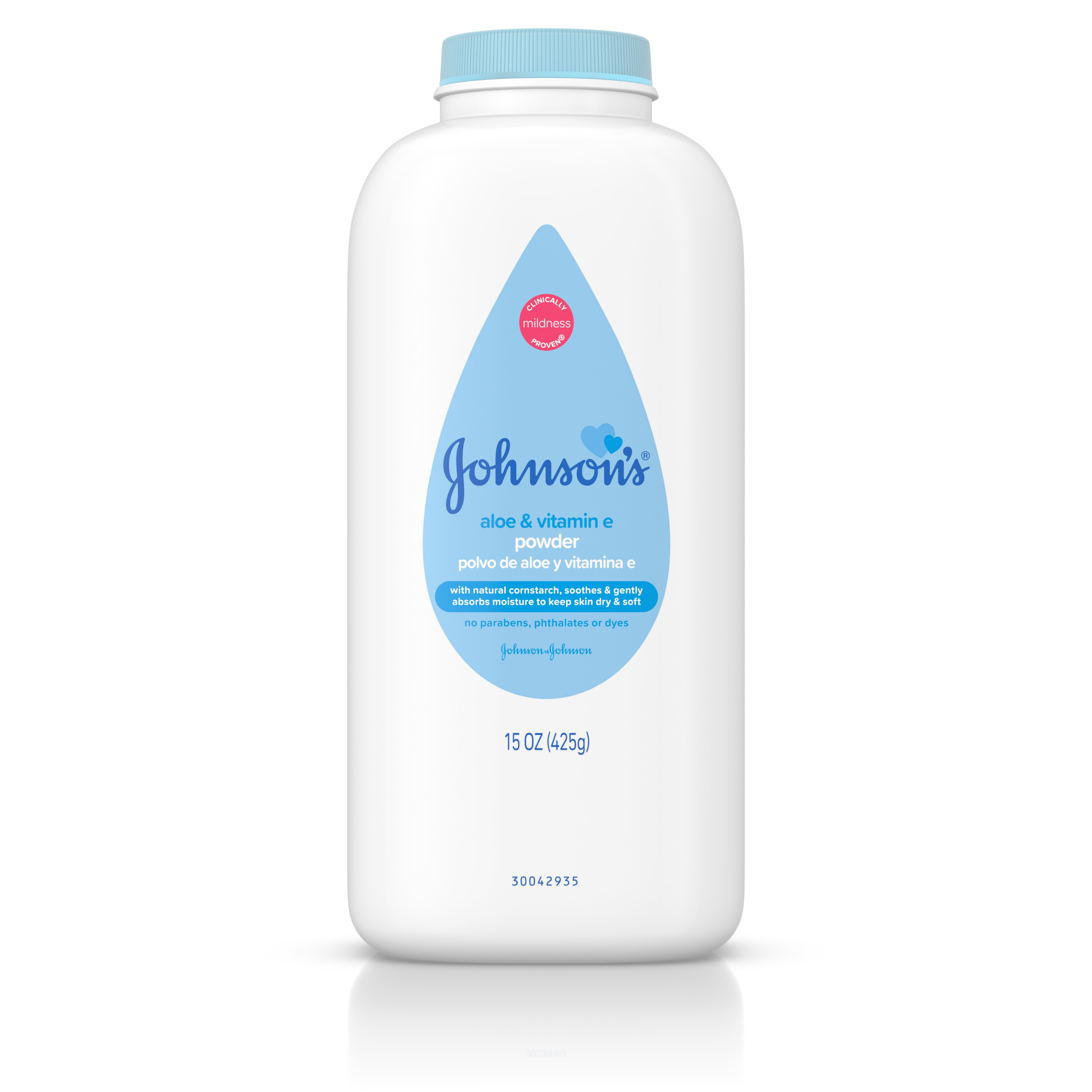Johnson's Naturally Derived Cornstarch Baby Powder with Aloe & Vitamin E, 15 oz