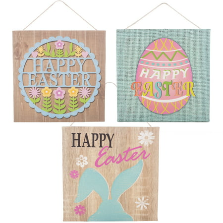 Canvas Style Glitter Easter Decor Hanging 8