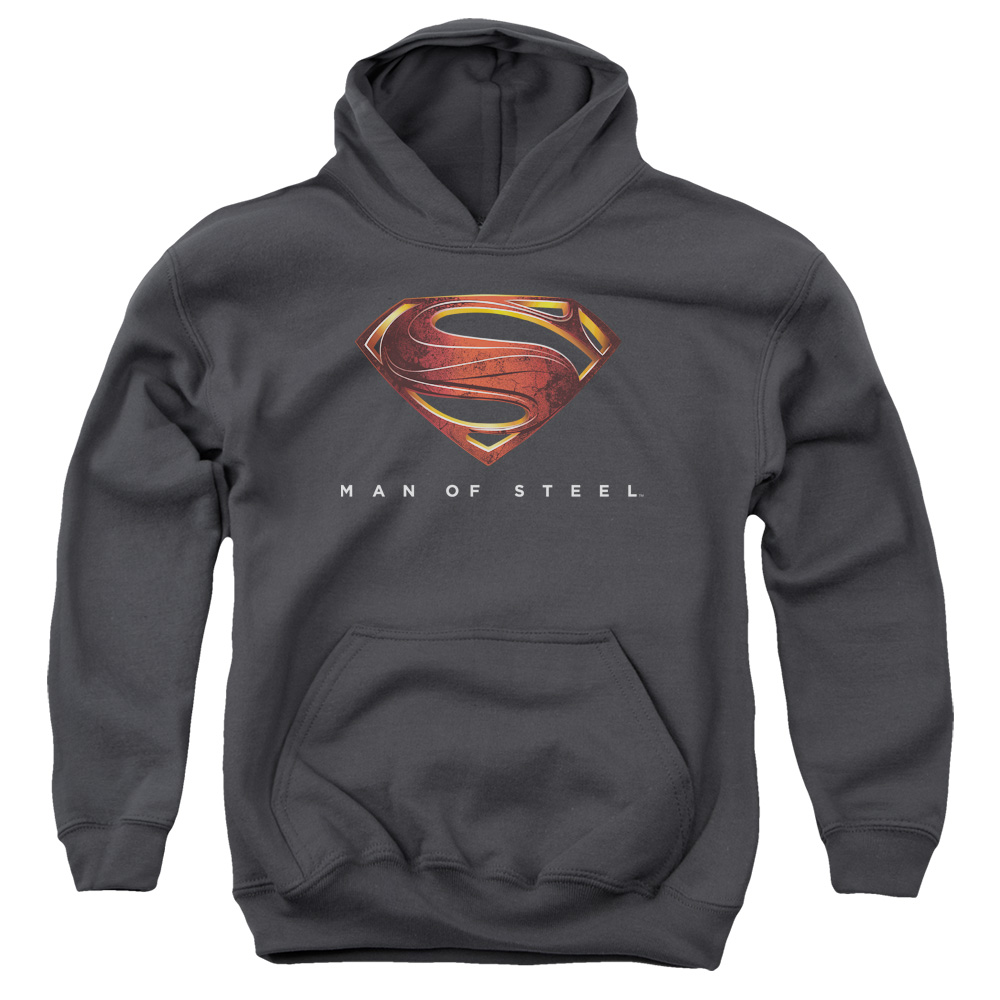 Man of Steel Superman Mos New Logo Big Boys Pullover Hoodie