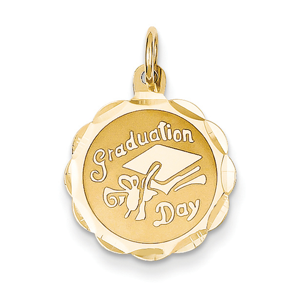 14k Yellow Gold Graduation Day Brocaded Disc Charm or Pendant, 16mm