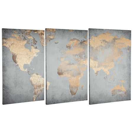 Gold Foil World Map Set of 3 Wrapped Canvas Prints - Walmart.com World Map Crib Blanket on world map silhouette cameo, world map headboard, world map side table, world map coverlet, world map women's clothes, world map bedding set,