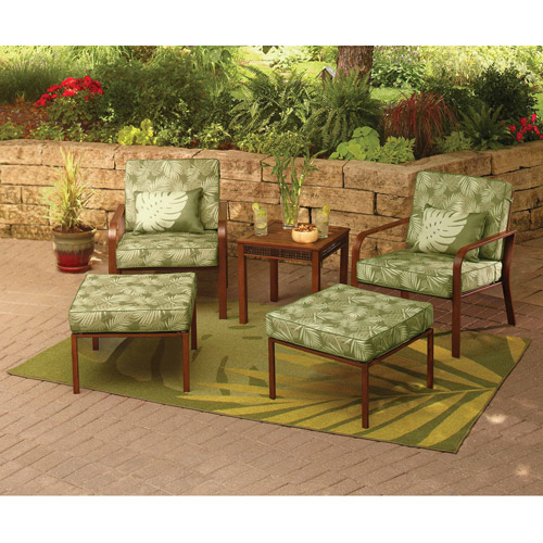 Hometrends Tropical Palm 5 Piece Outdoor Leisure Set, Green