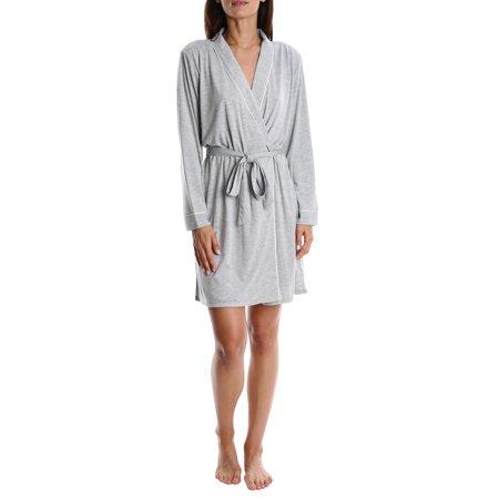 Blis Women's Soft Shower Robe - Ladies Sleep & Loungewear Bathrobe Nightgown - Grey,