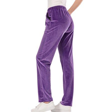 Women's Winter Velvet Tracksuit Pants Lined Sweatpants Fleece Joggers Pants Velour Pants