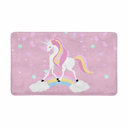 - MKHERT Vintage Cute Unicorn Pastel Adorable Cartoon Animal Doormat Rug Home Decor Floor Mat Bath Mat 30x18 inch