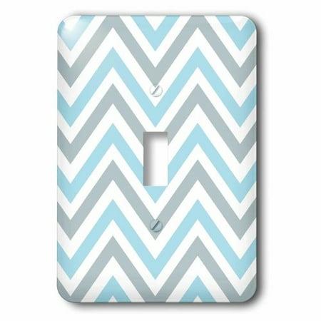 3dRose Light Blue and Grey Chevron zig zag pattern - modern pastel zigzags, Single Toggle Switch