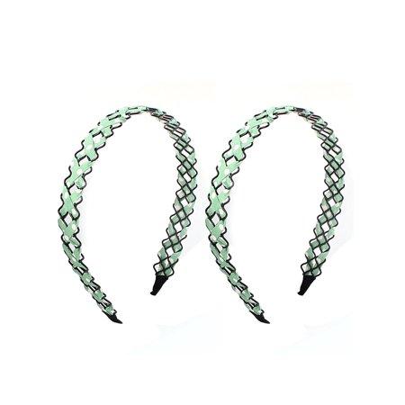 Unique Bargains Girl Green Cloth Braided Metal Wave Hairband Hair Hoop Clip 2 PCS