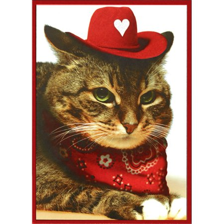 Recycled Paper Greetings Cat With Cowboy Hat   Bandana Funny Valentine s  Day Card - Walmart.com 08c9eccd313