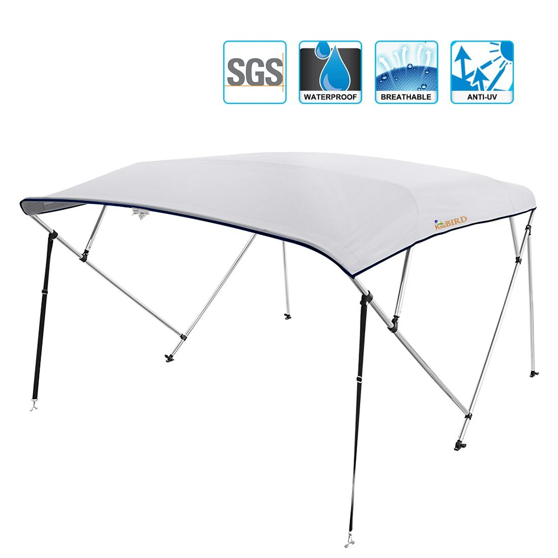 """Kingbird 4 Bow Bimini Boat Top Cover Sun Shade Boat Canopy Waterproof 1 Inch Stainless Aluminum Frame 55"""" Height... by ML"""
