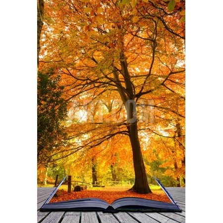 Creative Concept Idea of Beautiful Autumn Fall Forest Scene in Pages of Magical Book Print Wall Art By Veneratio](Fall Decor Ideas)