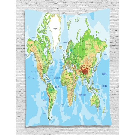 World Map Tapestry, Topographic Map of the World Continents ...
