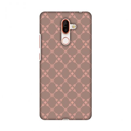 Nokia 7 Plus Case - Tribal mesh- Antique brass, Hard Plastic Back Cover, Slim Profile Cute Printed Designer Snap on Case with Screen Cleaning Kit