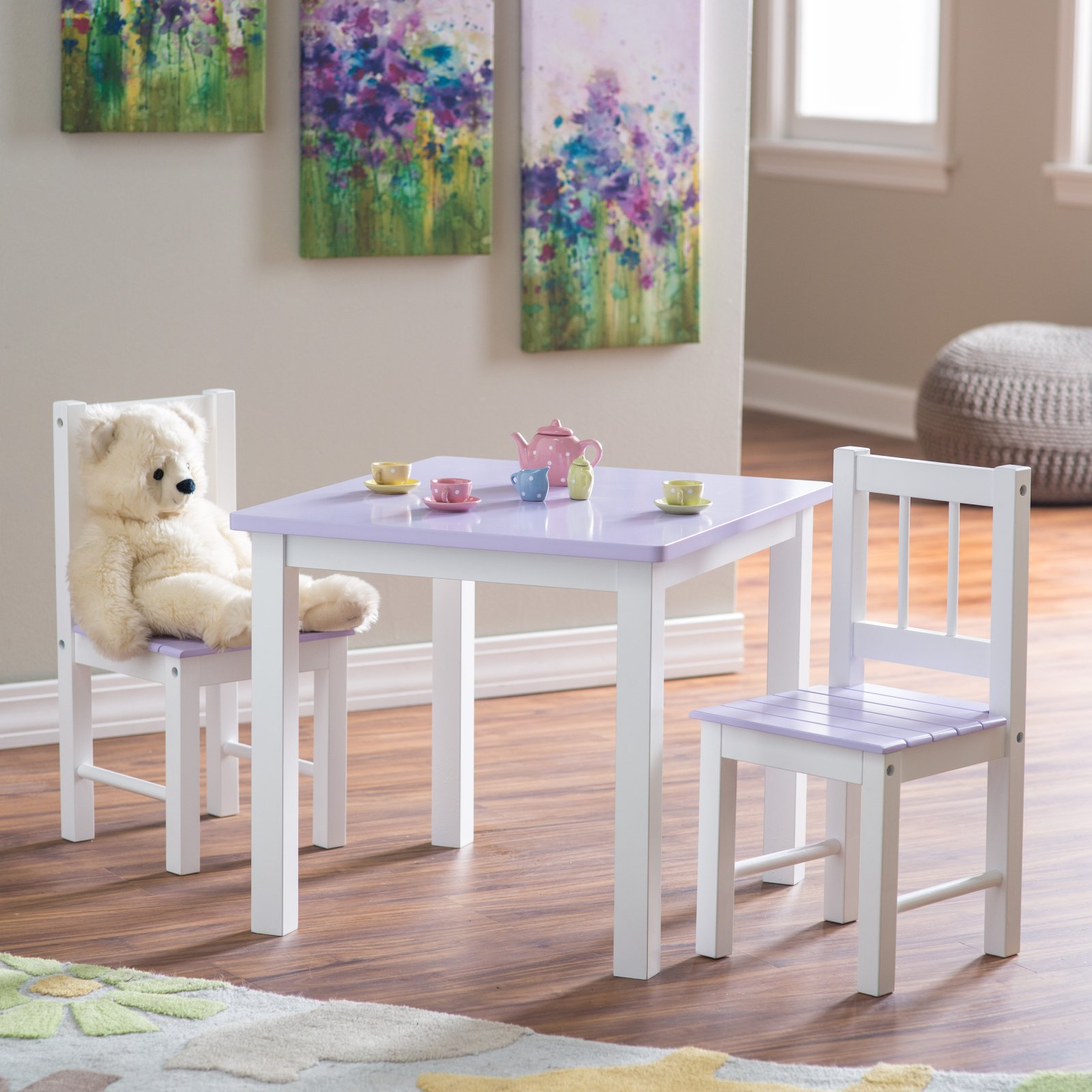 Lipper Kids Small Lilac and White Table and Chair Set
