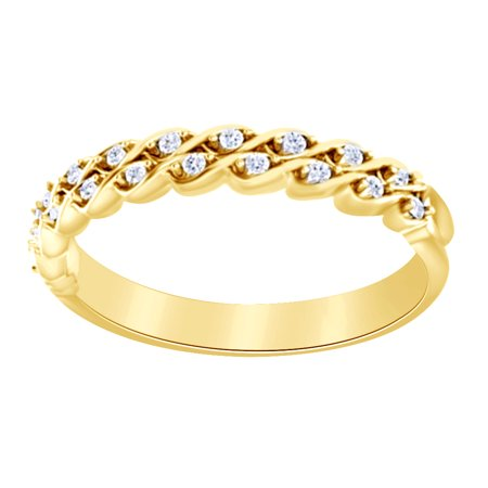Natural Diamond Vintage Engagement Wedding Ring In 14k Solid Yellow Gold (0.1 Ct),Ring Size-4