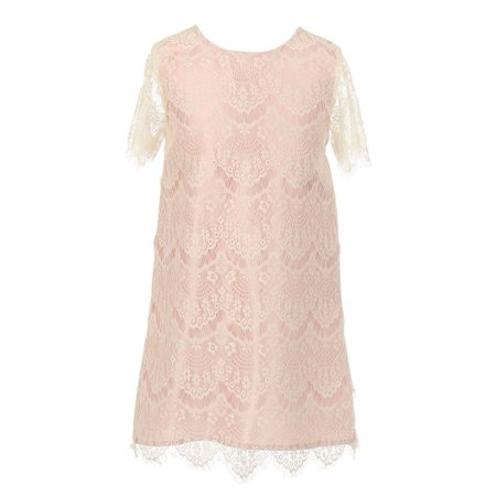 Little Girls Ivory Rose Eyelet Lace Scallop Short Sleeved Party Dress 6