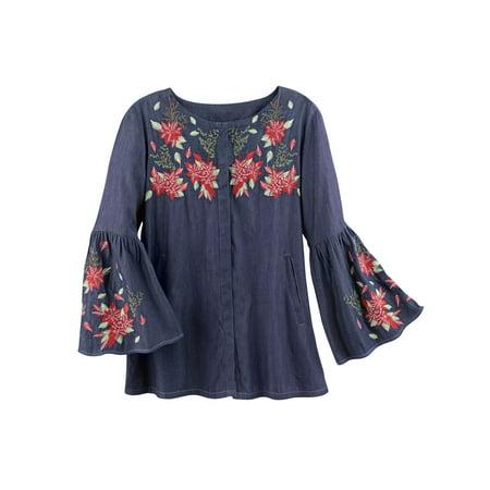 Catalog Classics Women's Embroidered Poinsettias Denim Peasant Blouse Tunic Top