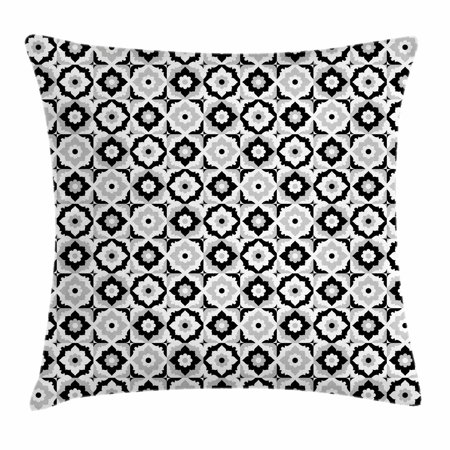 Quatrefoil Throw Pillow Cushion Cover, Black and White Ceramic Tile Design with Floral Ornaments Retro Daisies, Decorative Square Accent Pillow Case, 24 X 24 Inches, Black Grey White, by Ambesonne (Floral Design Ceramic)