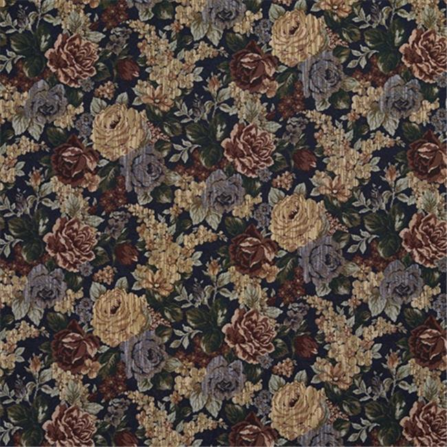 Designer Fabrics F923 54 in. Wide Blue, Green And Red, Floral Bouquet Tapestry Upholstery Fabric