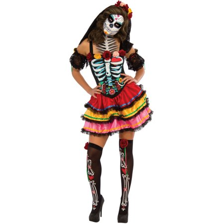 Adult's Womens Day Of The Dead Senorita Muerta Dress Costume for $<!---->