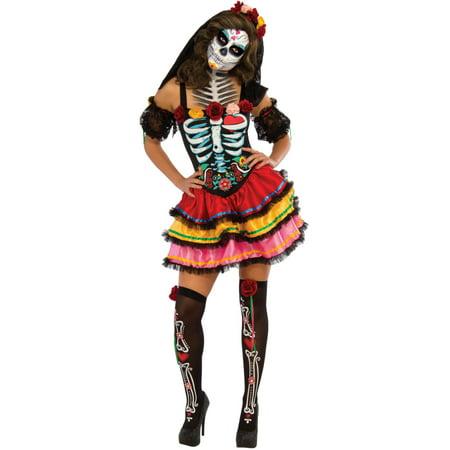 Adult's Womens Day Of The Dead Senorita Muerta Dress - Rick Costume Walking Dead