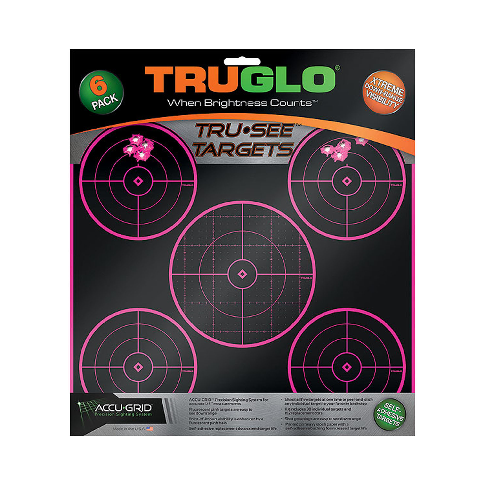 Truglo Target 5-Bull 12x12 Pink, 6 Pack