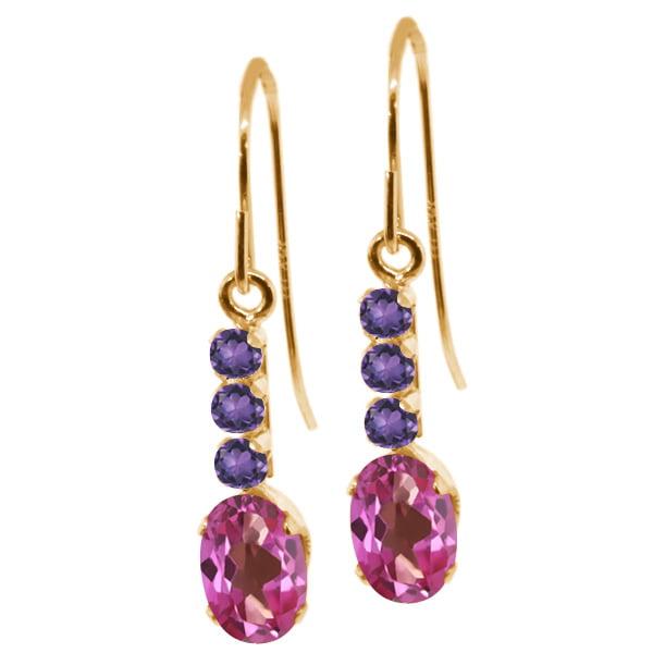 1.34 Ct Oval Pink Mystic Topaz Purple Amethyst 10K Yellow Gold Earrings by