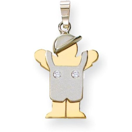 14K Two Tone Gold The Kids Diamond Boy Charm - Kids Charms