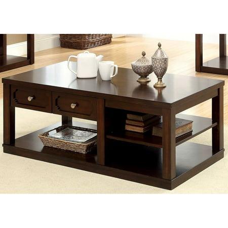 Furniture of america tivolli coffee table brown cherry for Furniture of america coffee table