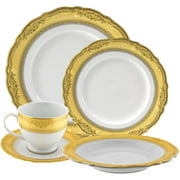 10 Strawberry Street Vanessa Gold 20-Piece Dinnerware Set with Cup and Saucer, White with Gold Border