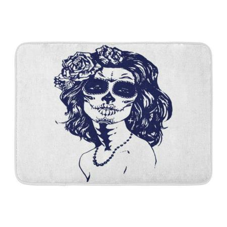GODPOK Cartoon Black Calavera Sugar Girl Santa Muerte Woman with Skull Make Up Face Tattoo Stock White Carnival Rug Doormat Bath Mat 23.6x15.7 inch](Calavera Girl)