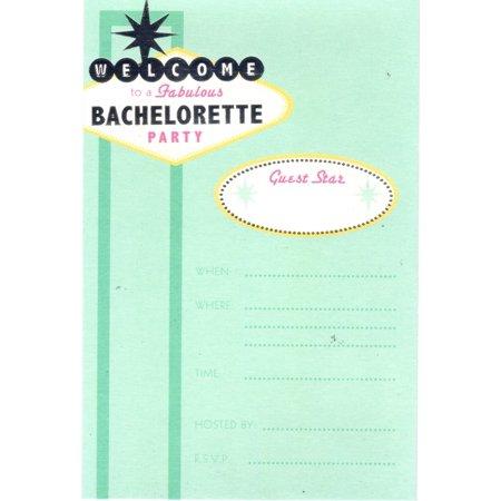Aqua Bachelorette Party single sided invitations stars yellow envelopes 8 count