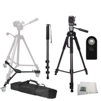 "Professional Tripod Package Includes: Professional 72-inch 3-way Panhead Tilt Motion with Two Built In Bubble Leveling Tripod + Heavy Duty Portable Tripod Dolly + 72"" Monopod w/ Quick Release + W"