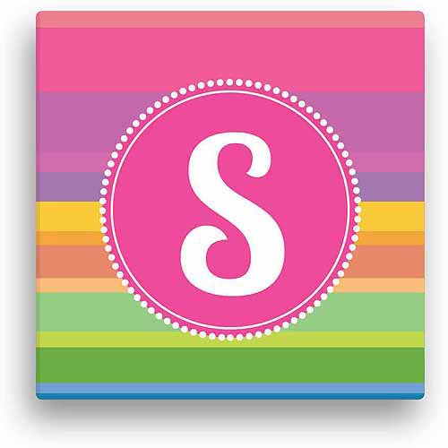 "Personalized Rainbow Stripes, 12"" x 12"" Canvas"