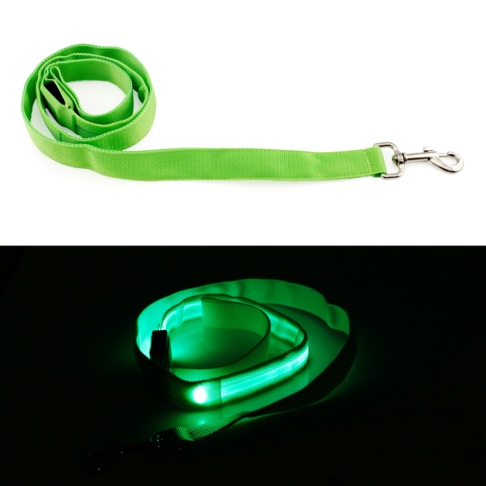 LED Glow Collar Dog Pet Flashing Light Night Safety Adjustable Leash Nylon Collar
