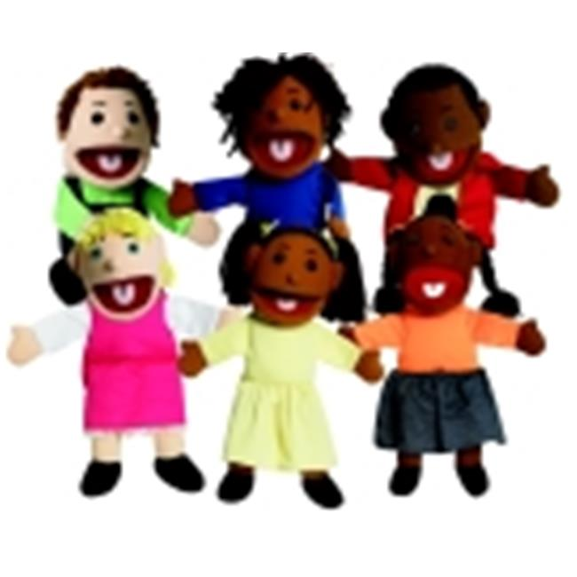 Childrens Factory Various Skin Tone Ethnic Girl And Boy Puppet Set