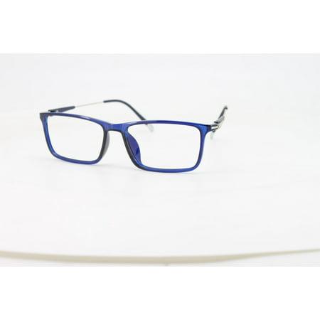 Ebe Reading Glasses Mens Womens Blue Bold Rectangular Full Frame Anti Glare grade (Bold Frame Glasses)